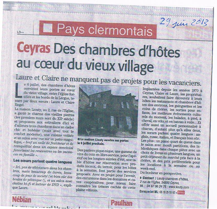 Midi Libre article 29th June 2013