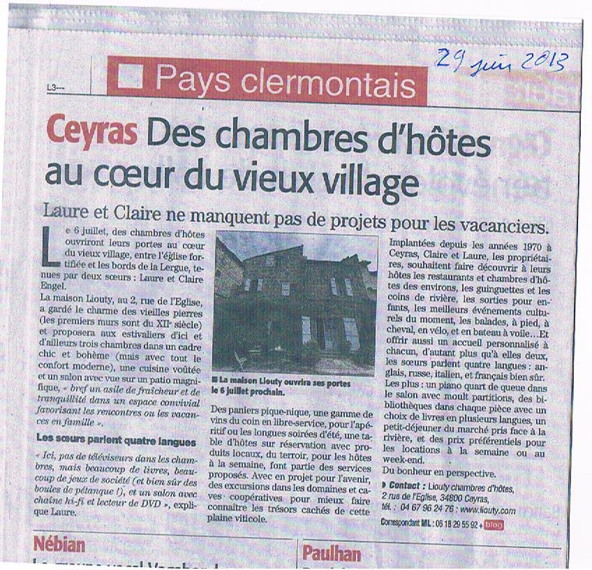 Article Midi Libre 29 juin 2013